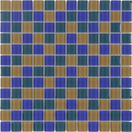 MTO0376 Modern 1X1 Stacked Squares Blue Green Orange Glossy Glass Mosaic Tile 1/2' Square Glass Mosaic Tile