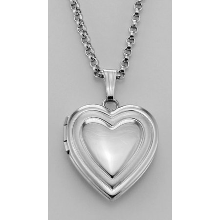 Sterling Heart Shaped Locket - Engravable - 14mm - Made in USA