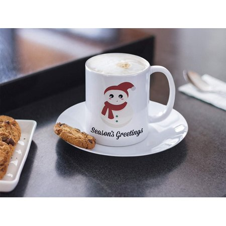 Season's Greetings Ceramic Coffee & Tea Gift Mug, Decorations, Items & Accessories for Holiday, And Christmas Present For Snowman Lover Men & Women - Holiday Items