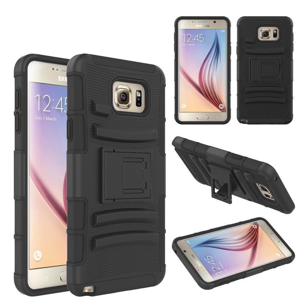 Samsung Galaxy S6 Edge Plus Case, 3-in-1 Rotating Swivel Locking Hybrid Holster Shell Combo[Kickstand] Case - Black