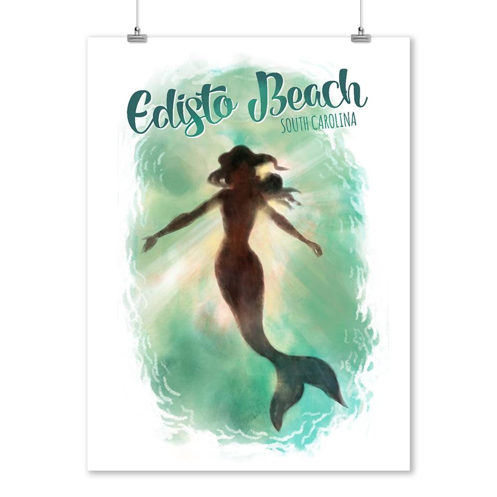Edisto Beach, South Carolina - Mermaid Underwater - Lantern Press Artwork (9x12 Art Print, Wall Decor Travel Poster)