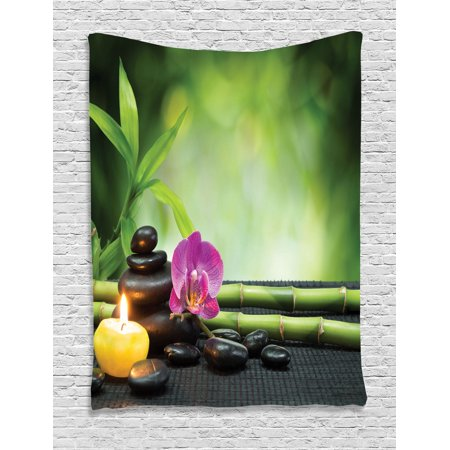 Spa Decor Wall Hanging Tapestry, Orchid Bamboo Stems Chakra Stones Japanese Alternative Feng Shui Elements Therapy Design, Bedroom Living Room Dorm Accessories, By