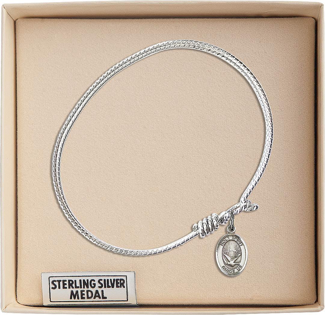 7 1//4 inch Oval Eye Hook Bangle Bracelet with a Holy Spirit charm.