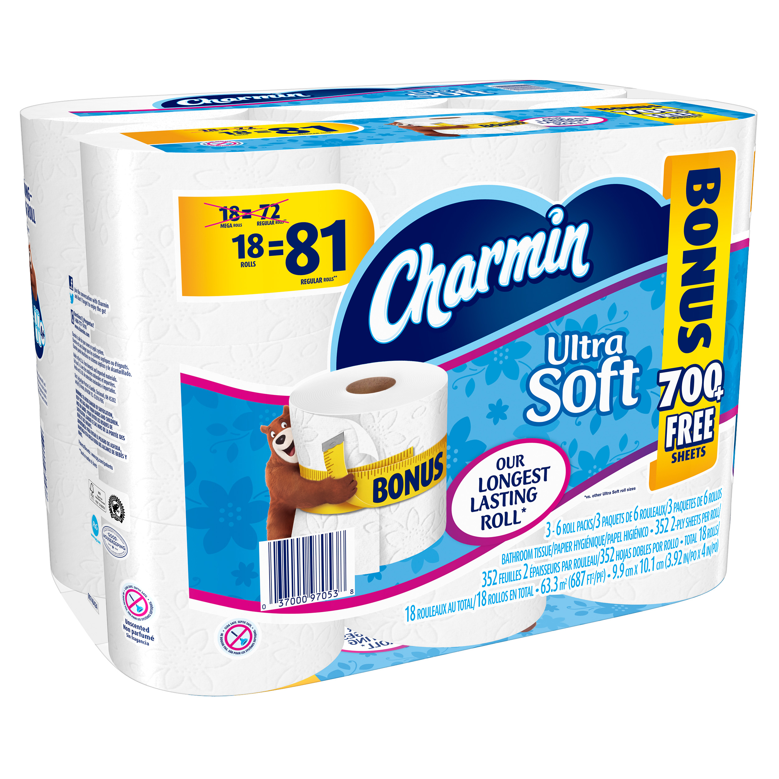 Charmin Ultra Soft Mega Roll Toilet Paper, 352 sHeets, 18 rolls by Procter & Gamble
