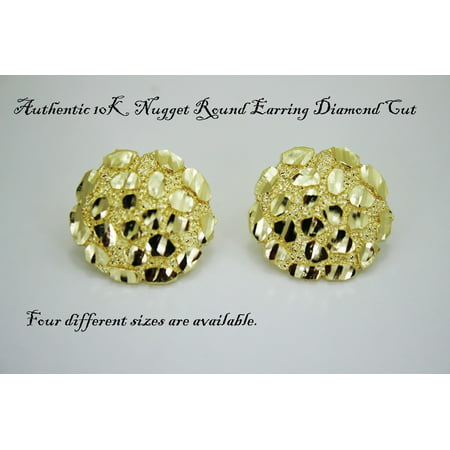 Authentic 10K Gold Nugget Round Diamond Cut Stud Earrings for Men Women