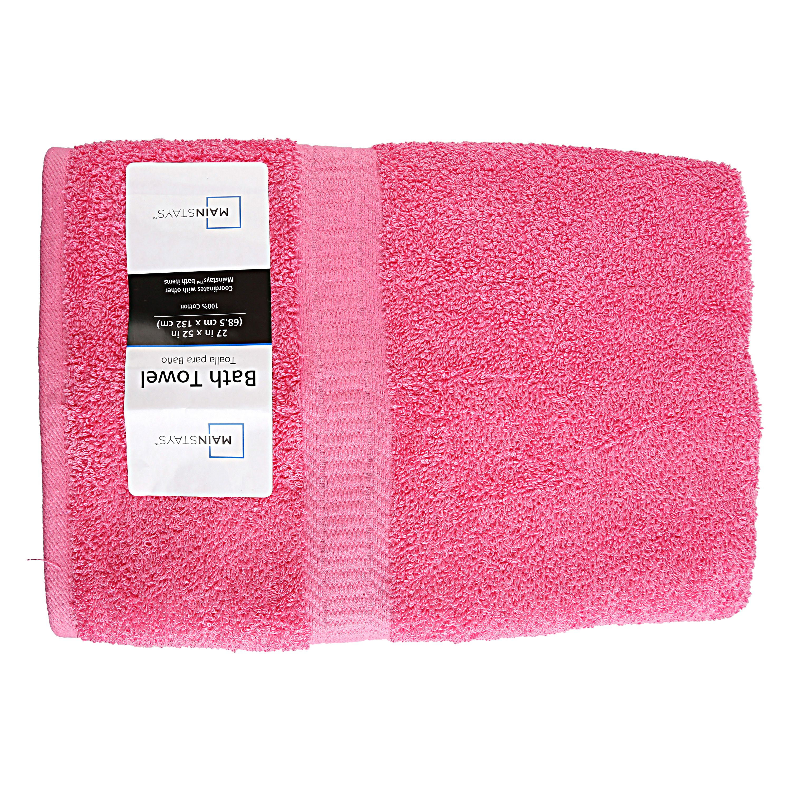 Mainstays Bright Pink Basic Bath Towel, 27 x 52 Inches by