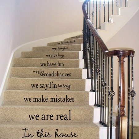 Quote We Are Family In This House Vinyl Art Stair Decals Wall Sticker DIY Mural