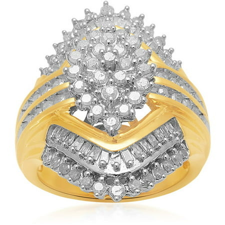 - 1 Carat T.W. Baguette and Round Diamond 18kt Yellow Gold over Brass Cluster Ring
