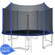 ORCC 12FT 15FT Trampoline with Enclosure Ladder Wind Stakes and Rain Cover Spring Tool