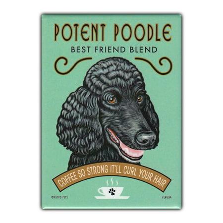 Retro Pets Refrigerator Magnet - Potent Poodle Coffee, Poodle - Vintage Advertising Art - 2.5