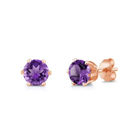 1.50 Ct Round 6mm Purple Amethyst Brass Rose Gold Plated Brass Stud Earrings