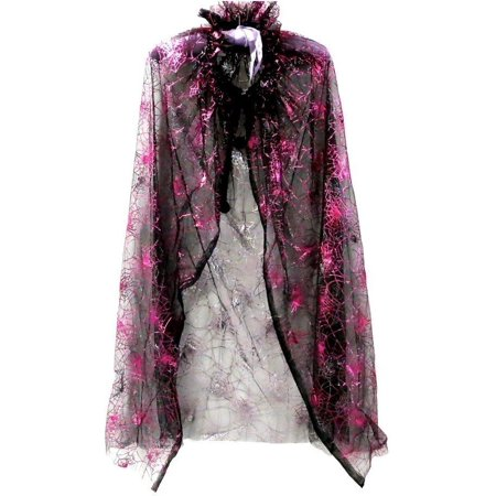 Little Girls Black Hot Pink Spiderweb Print Halloween Cape - Hot Springs Mall Halloween