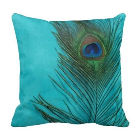 Popeven New Peacock Feathe Lovely Throw Pillow Case Decorative Accent Pillow Covers Canvas Pillow Case 18 x 18'' for couch Home Decor Office Cushion - New Accents