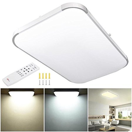 GHP 48W 3000-6500K Silver Frame Flush Mount 96-LED Ceiling Light with Remote Control - Flush Mount Remote