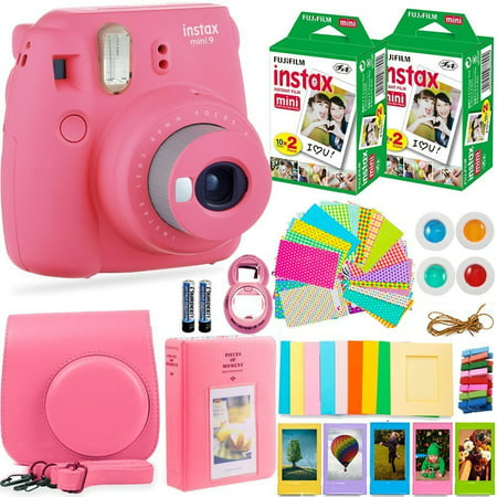 100% authentic 01c85 76644 FujiFilm Instax Mini 9 Instant Camera + Fuji Instax Film (40 Sheets) +  Accessories Bundle - Carrying Case, Color Filters, Photo Album, Stickers,  ...