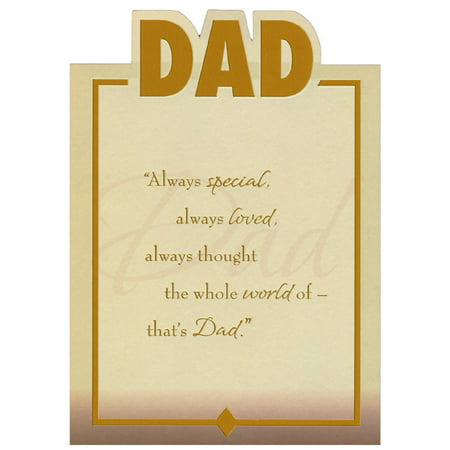 Designer Greetings Die Cut Dad, Gold Foil Lettering and Frame Top Fold Birthday Card