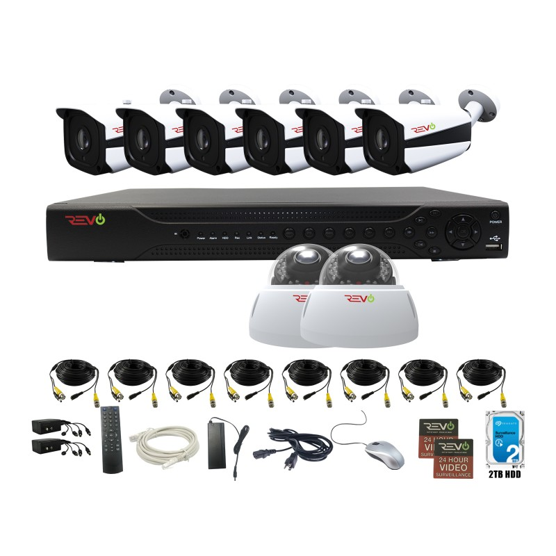 RevoAmerica Aero HD 16 Ch. Video Security System with 8 Indoor/Outdoor 5 Megapixel Cameras
