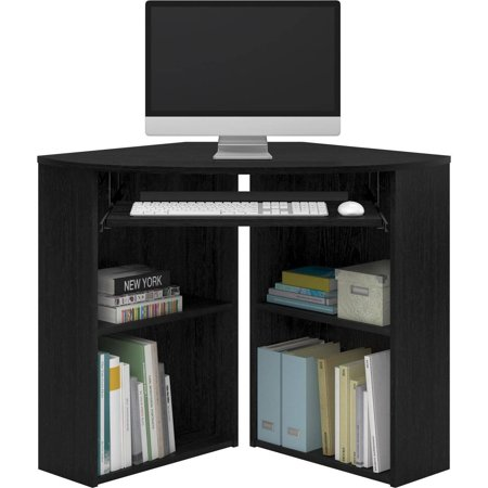 Mainstays Corner Desk with Keyboard Tray and Shelves, Black