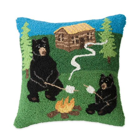 Hand-Hooked Wool Camping Bears Decorative Throw Pillow, 16