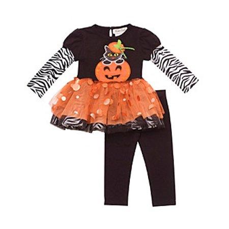 Rare Edition Girls Orange Pumpkin Tutu Set : Girls Halloween Outfits CLEARANCE 12 months