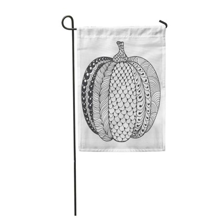 SIDONKU Zentangle Pumpkin Black White Traditional Symbol of Thanksgiving Halloween Garden Flag Decorative Flag House Banner 28x40 inch](Halloween Pumpkin Clipart Black And White)