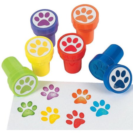 24 Paw Print Stampers Stamps Birthday Party Favors Prizes Dog Cat Animal