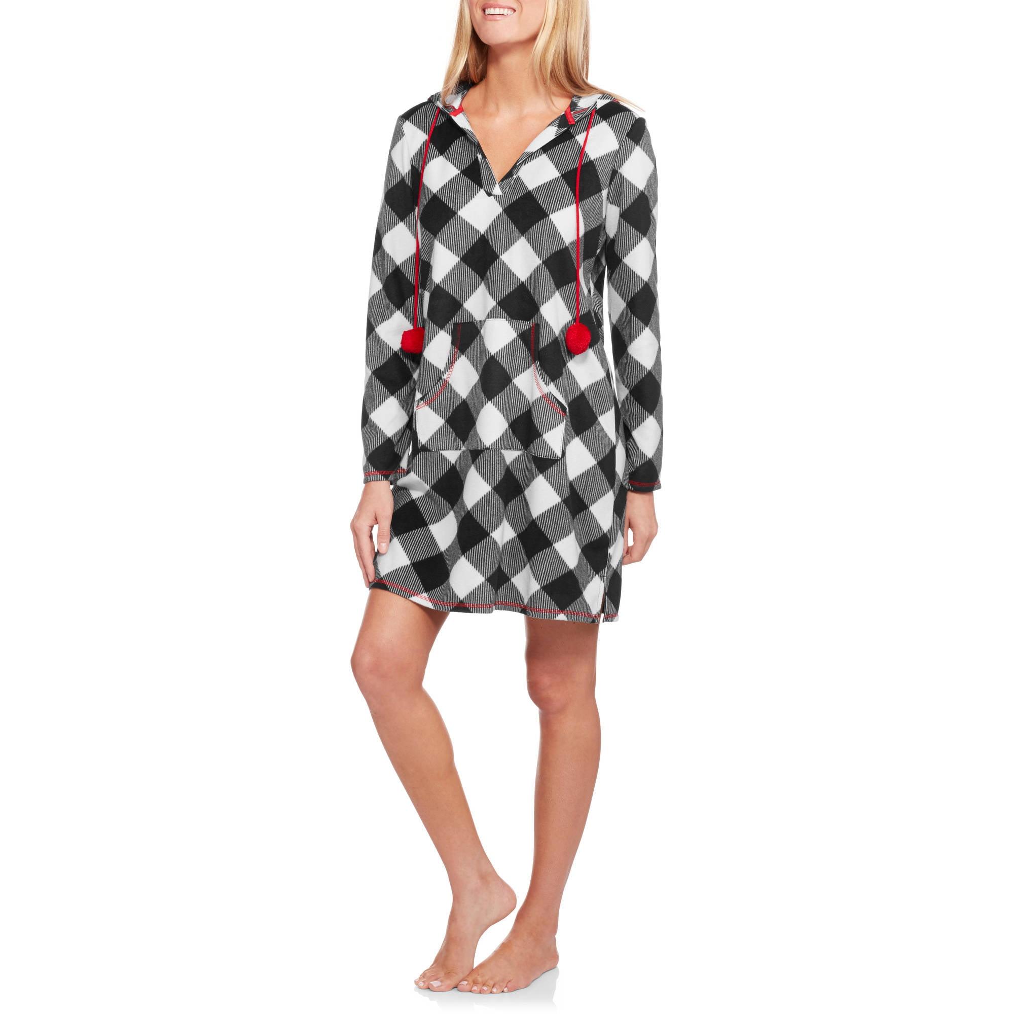 Secret Treasures Women's Micro Fleece Pajama Sleep Shirt with Hood
