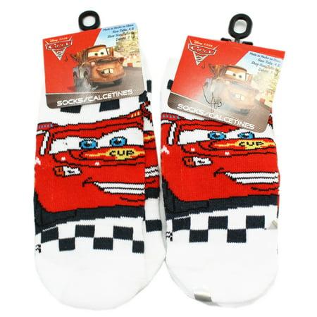 Disney Pixar Cars Socks - Disney Pixar's Cars Lightning McQueen White/Blue Socks (2 Pairs, Size 4-6)