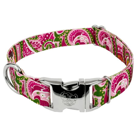 Country Brook Design - 1 1/2 Inch Premium Pink Paisley Dog Collar