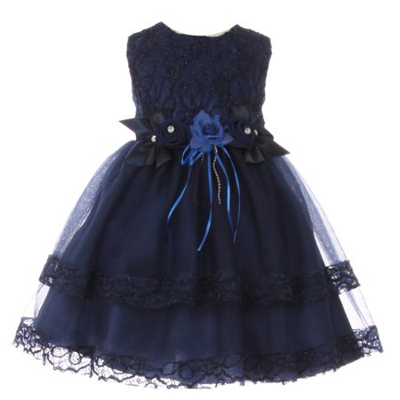 Baby Girls Navy Lace Trim Double Layered Tulle Flower Girl Dress 6-24M](Flower Girl Dress Navy)