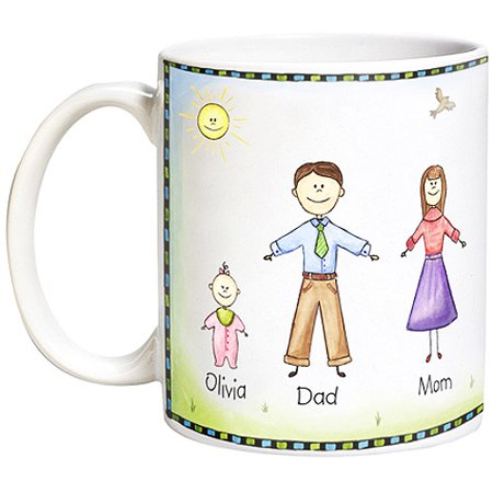 Personalized Friendly Family Characters Coffee Mug  15 Oz