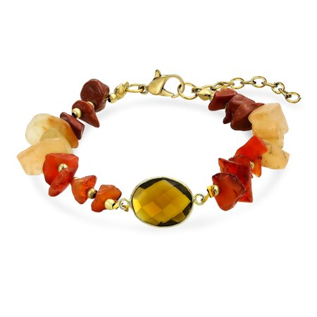 Boho Organic Brown Orange Earth Tone Multi Chip Gemstones Fashion Bracelet For Women For Teen Adjustable