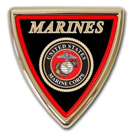 - United States US Marine Corps USMC Gold Plated Triangle Dome Premium Metal Car Truck Motorcycle Emblem