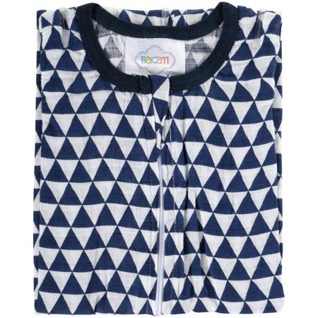 Royal Blue Receiving Blanket - Bacati Newborn Wearable Blanket Tribal Navy Triangles