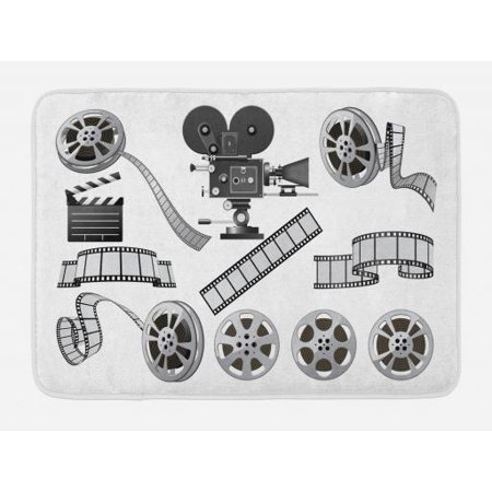 Movie Theater Bath Mat, Movie Industry Themed Greyscale Illustration of Projector Film Slate and Reel, Non-Slip Plush Mat Bathroom Kitchen Laundry Room Decor, 29.5 X 17.5 Inches, Grey Black, Ambesonne - Film Reel Decor