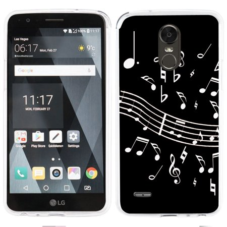 Fit LG Stylo 3 - OneToughShield ® Slim-Fit Premium TPU Gel Phone Case for LG Stylo 3 - Music Notes / Black (Music Design Note 3 Cases)
