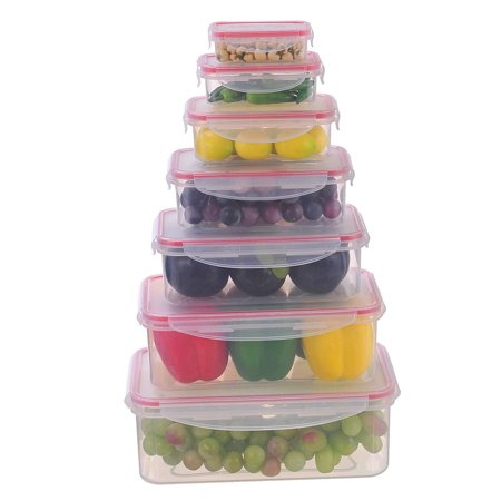 Sealco Food Storage Containers with Lids – Reusable Plastic Containers –  BPA-Free, Stackable, Microwave, Dishwasher, Freezer Safe – Airtight – 7  Piece