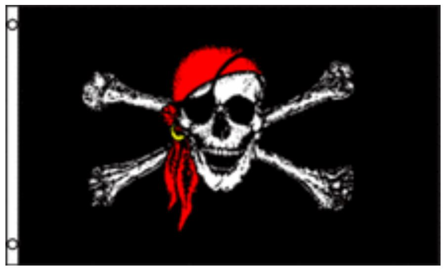 12x18 Pirate Red Hat Jolly Roger Flag Skull and Crossbones Boat Flag New by Home and Holiday Flags