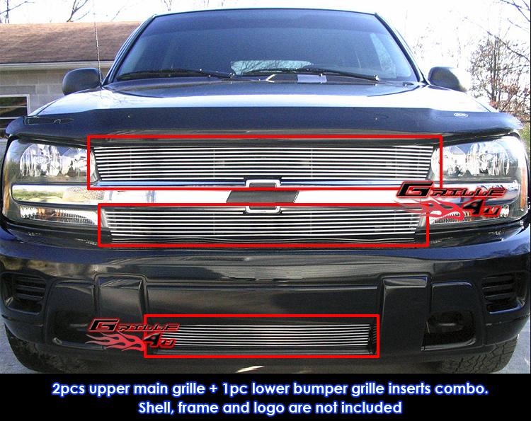 APS Compatible with 02-05 Trailblazer LT LS SS Black Billet Grille Combo C87943H