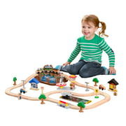KidKraft Bucket Top Mountain Train Set with 61 Pieces, Magnetic Train, Wooden Tracks and Storage