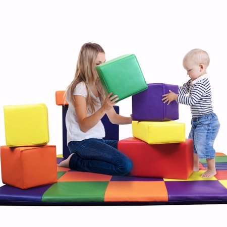 DreamTree Kids COLORED Soft Foam Blocks [Set of (Large Foam Blocks)