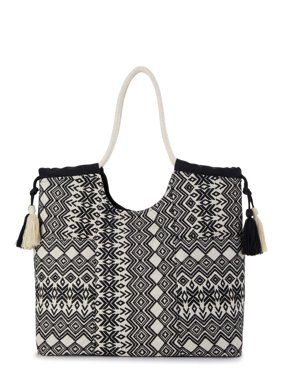 Time and Tru Rope Handle Woven Beach Tote Handbag with Magnetic Snap Button Closure