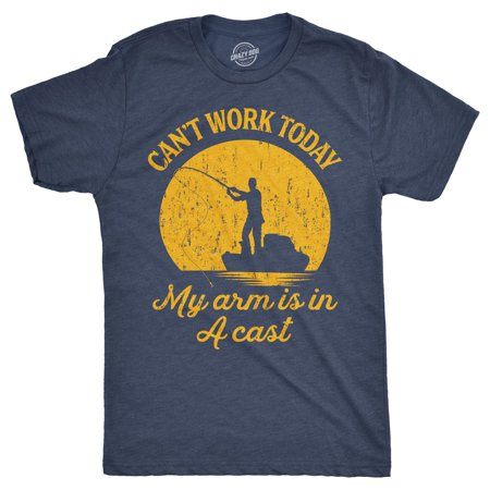 Mens Can't Work Today My Arm Is In A Cast T-Shirt Funny Fishing Tee For - Funny Guy Halloween Ideas