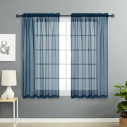Basic Home Rod Pocket Sheer Voile Window Curtains - Navy Blue, 63 in. Long