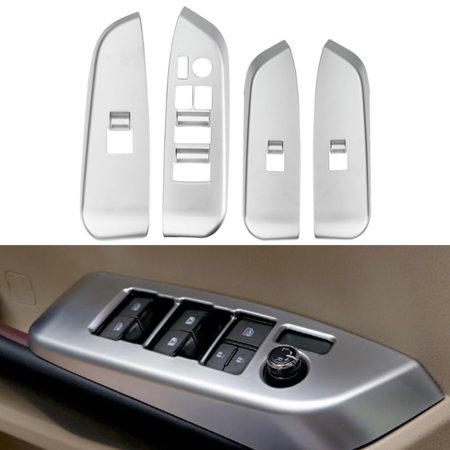 4Pcs Chrome Inner Door Window Switch Panel Cover Trim Fit For For 2015 Toyota Highlander Chrome Trim Fuel Door Cover