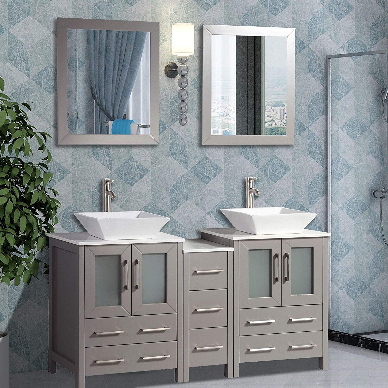 """Vanity Art 60"""" Double Sink Bathroom Vanity Combo Set Solid ..."""