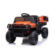 Ride on Tractor with Trailer, 12V Battery Power Wheels Truck, Electric Ride on Car Toy with 2 Speeds, Agricultural Vehicle Toy for Kids 1 to 5 Years with MP3 Player LED Lights USB Port Radio, K2573