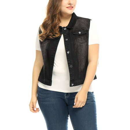 Chest Pocket Embroidered Vest (Women Plus Size Chest Pockets Single Breasted Denim Vest Black 2X)