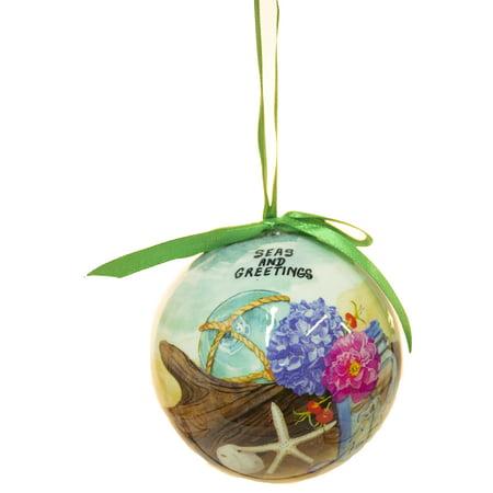 "Funny Nautical Christmas Ornament - 3 Inch Seaside Scene ""Seas and Greetings"" - Walmart.com"