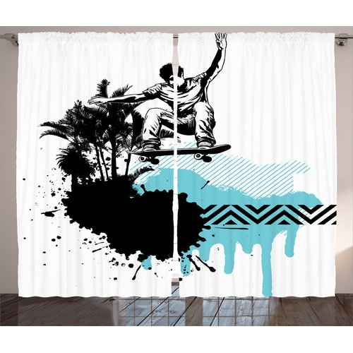 East Urban Home Boy Skater Jumping Graphic Print Room Darkening Rod Pocket Curtain Panels (Set of 2)